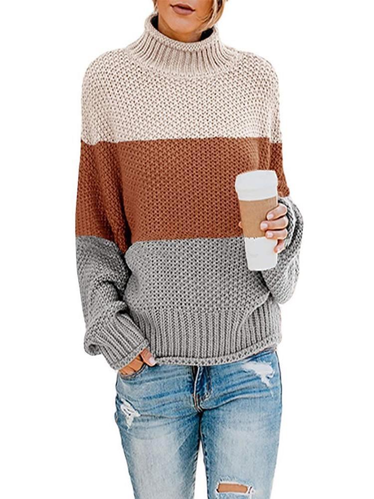 Winter Turtleneck Sweater Oversized Chunky Batwing Long Sleeve