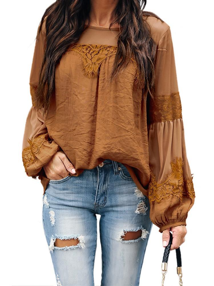 Fashion Lantern-Sleeve Solid Color Lace Patchwork Top