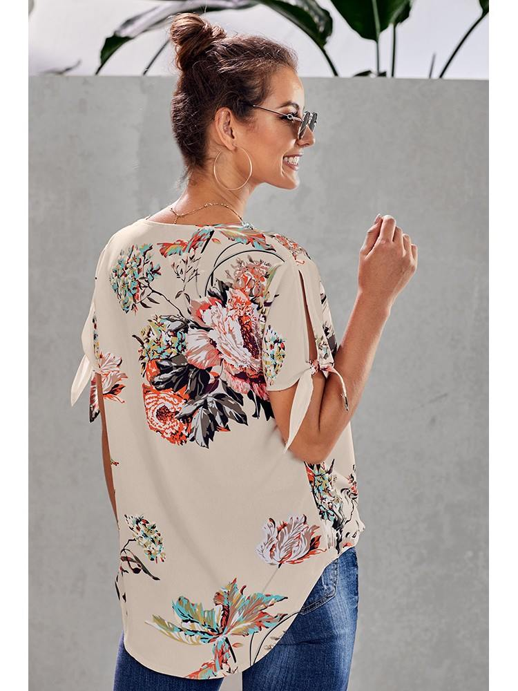 Floral Printed Overlap Twist Top