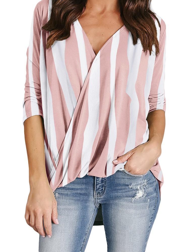 Vertical Striped V-Neck Wrap Front Irregular Twist Hem Blouse
