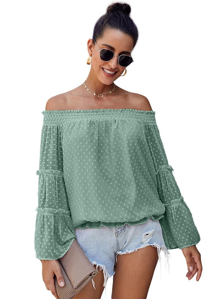 Polka-dot Turquoise Swiss Dot Off-the-shoulder Top