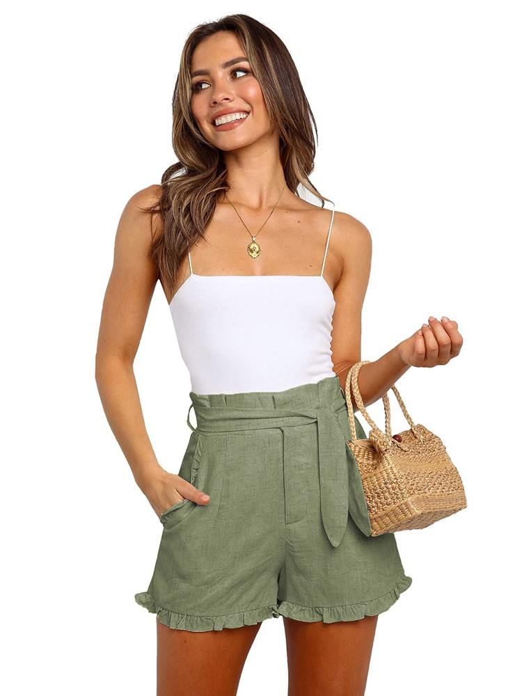 Green Belt Cuffed Pleated Ruffled Trim High Waist Getaway Shorts