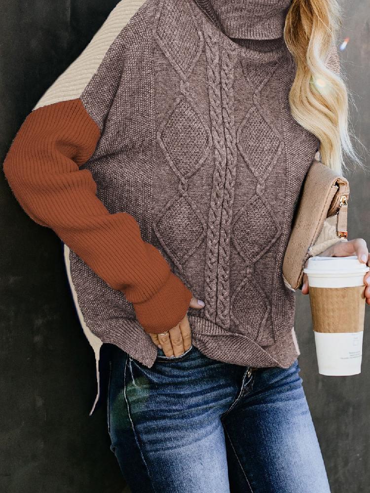 Women Oversized Cozy Up Stitching Knit Sweater