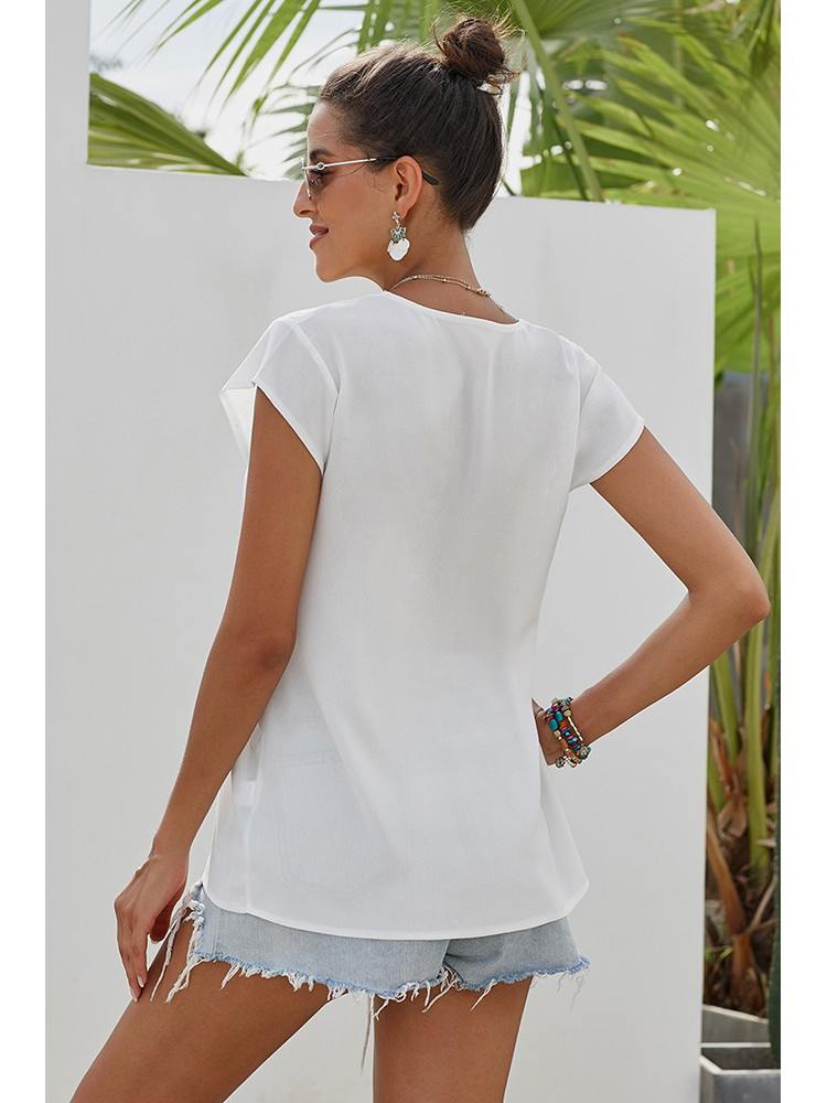 Bohemian Short Sleeve Embroidery Deep V Neck Blouse