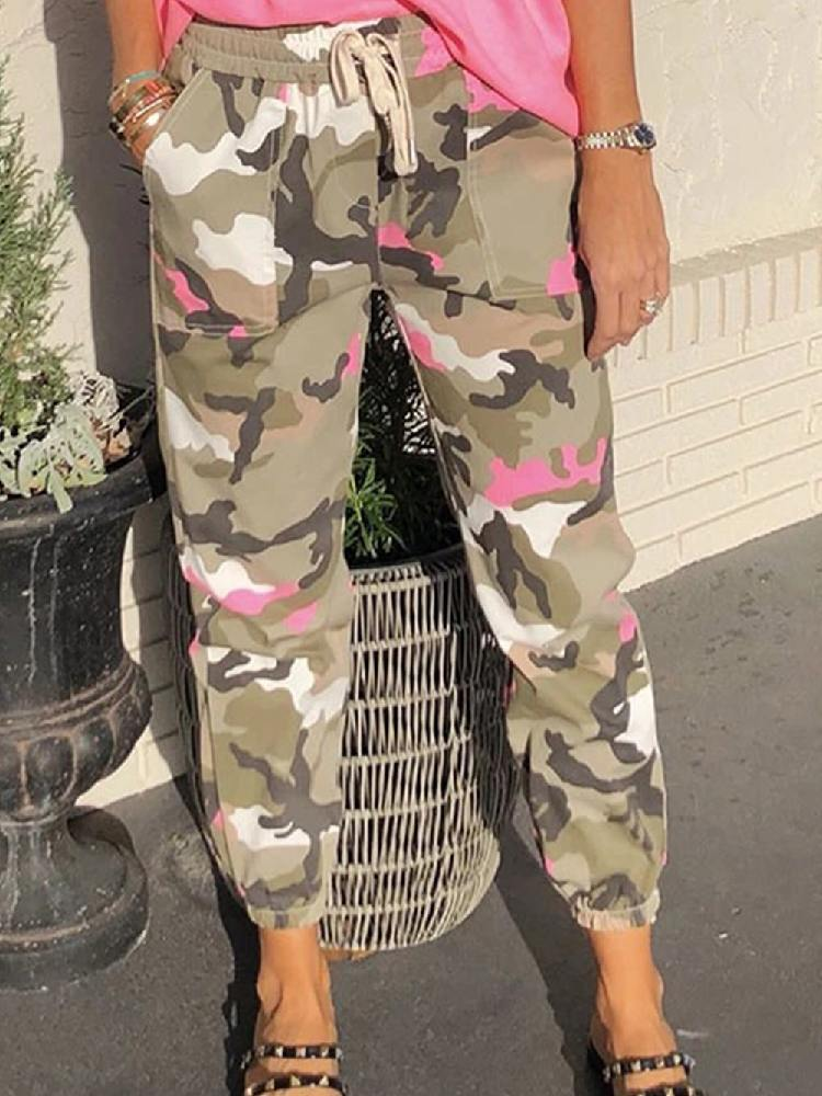 Camouflage Elastic Waist Ancle-length Neon Camo Joggers