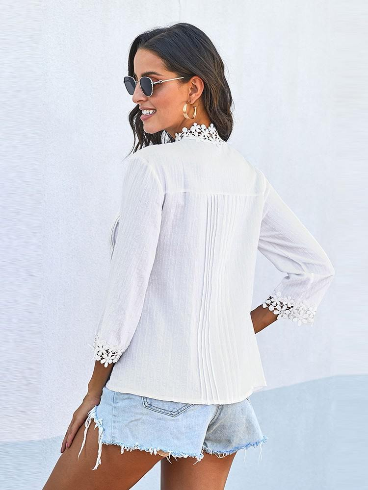 Calf-Length Sleeve Sweet Mary Crochet Lace High Collar Top