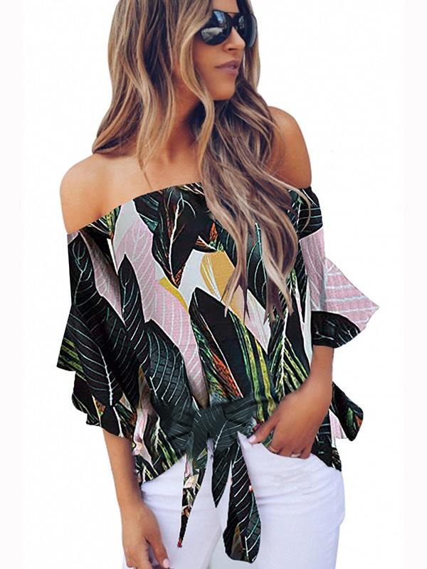 Printed Knotted Shoulder Floral Tie Front Chiffon Blouse