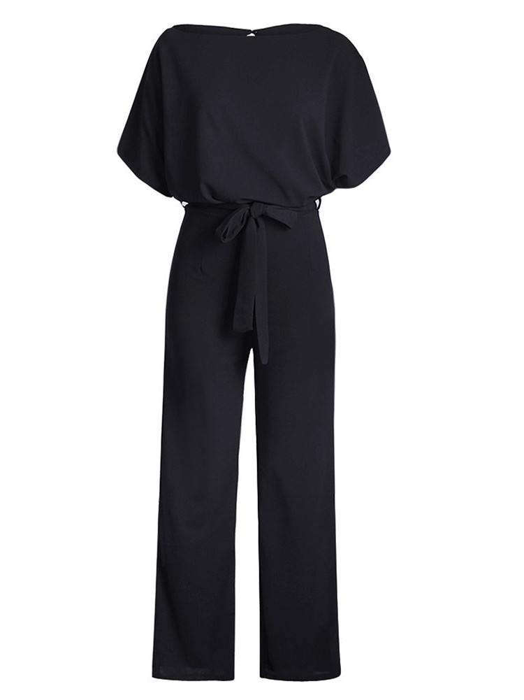 High Waist Round Neck Glam Belted Wide Leg Jumpsuit