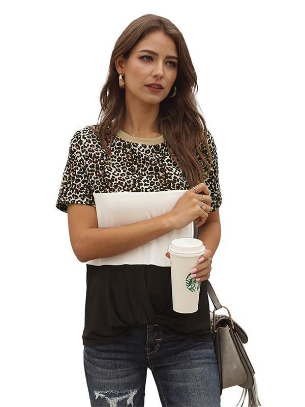 Short-sleeved Women Color Block Leopard Tee