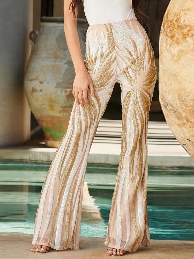Chic Sequin Kick Flare high waist Pants