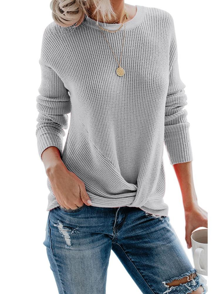 Waist Knot Your Girlfriend Thermal Knit Casual Top