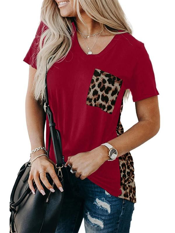Short-sleeved Leopard Printed Splicing Summer Loose T-Shirt