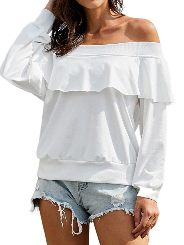 Long-sleeved Pullover Sweater Off The Shoulder Ruffle Blouse