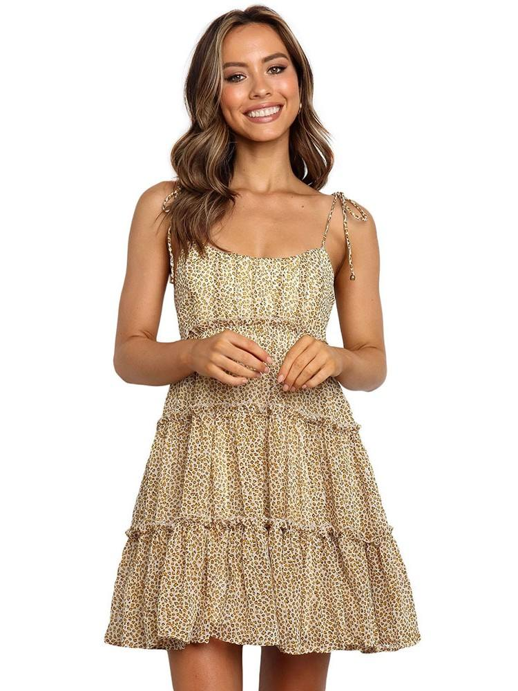 Sling A-line Layered Ruffled Floral Multilayer Cake Dress
