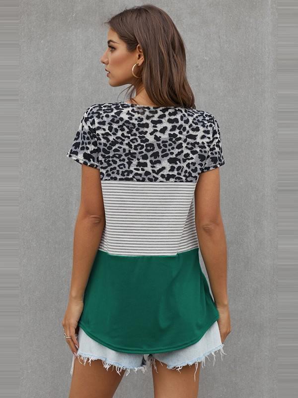 Women Block Striped Leopard Print Short Sleeve Tee