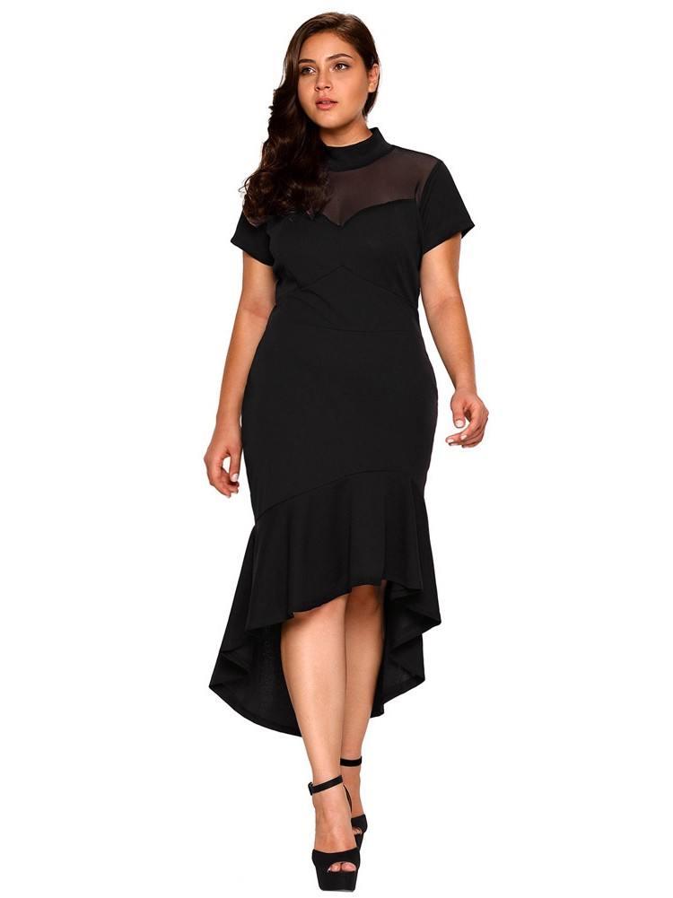 Mesh Insert Ruffled Hi-low Hem Curvy Dress