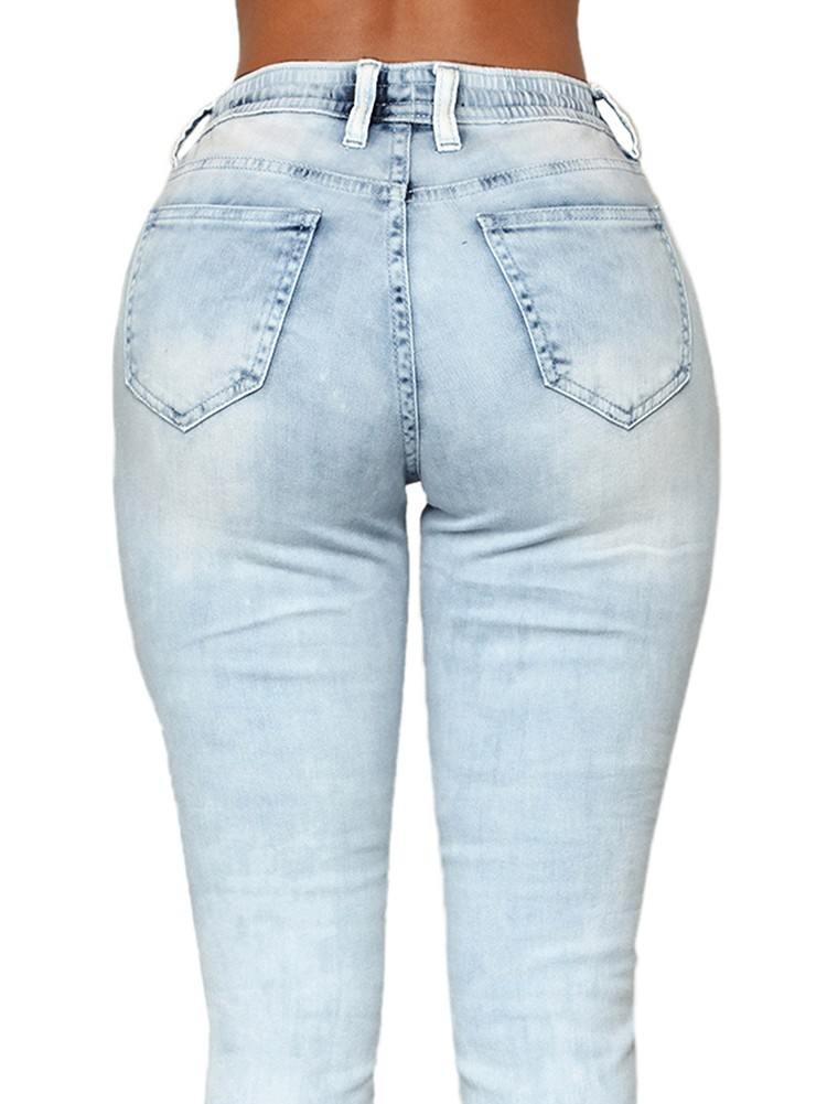 Stretch Waist Wash Knee Patch Denim Jogger Pants