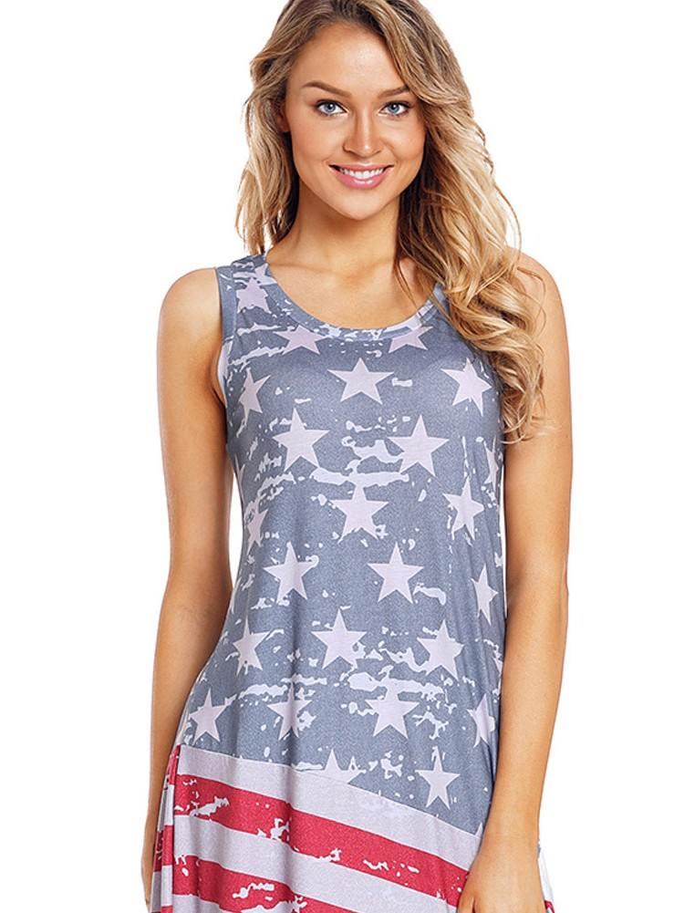 American Flag Print Sleeveless Long Style Maxi Dress