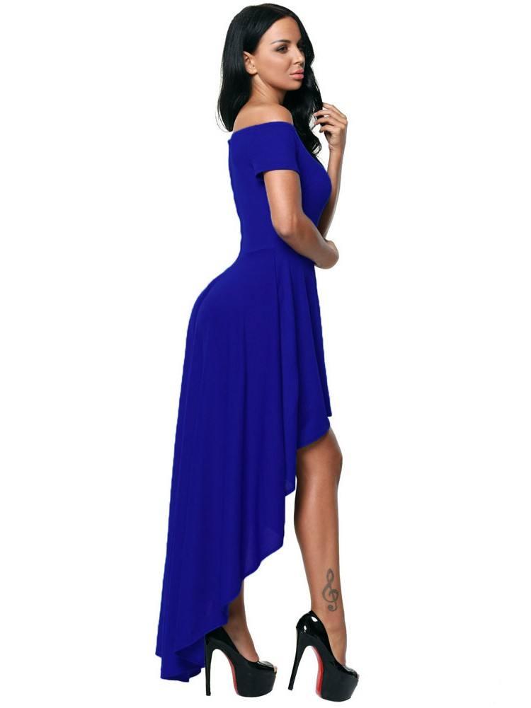 Sexy High Low Hem Off Shoulder Irregular Skirt Dress