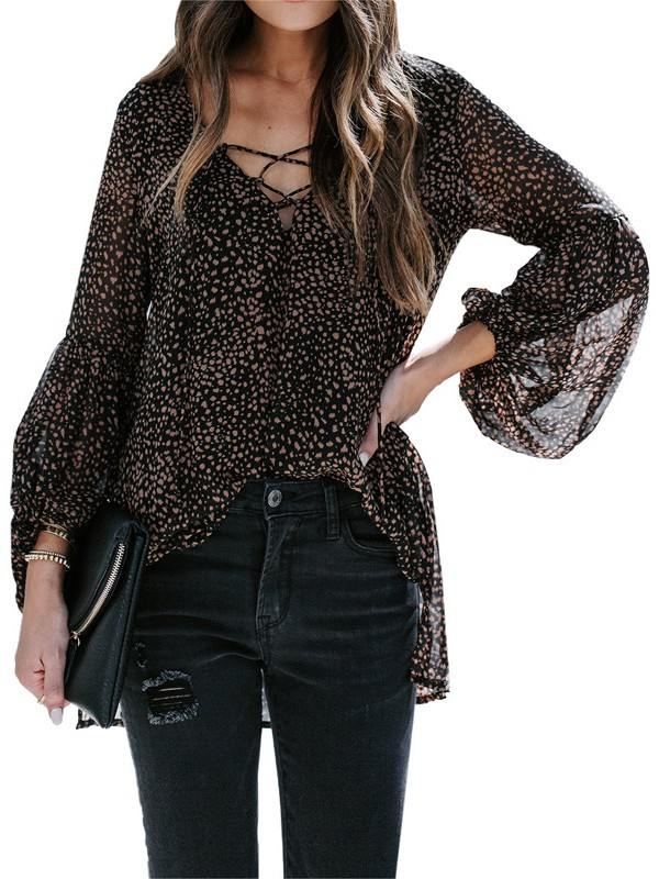 Women Leopard Print Lantern Sleeve Casual Lace Up V-neck Blouse
