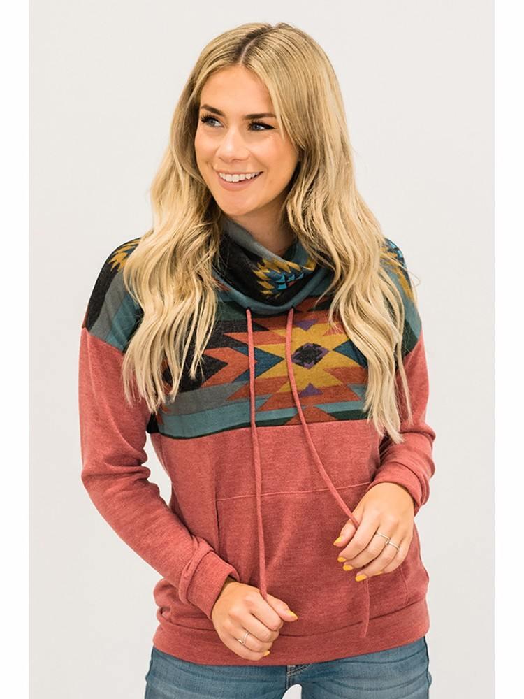 Sweater Women Printed Aztec Cowl Autumn Winter Pullover Hoodie