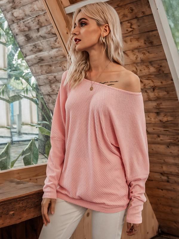 2020 Autumn Winter Sexy Cold Shoulder Bat Sleeve Threaded T-shirt Top