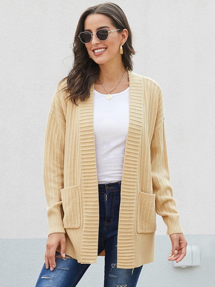 Fall Winter Sweater Coat Shawl Neckline Long Sleeve Cardigan with Pocket