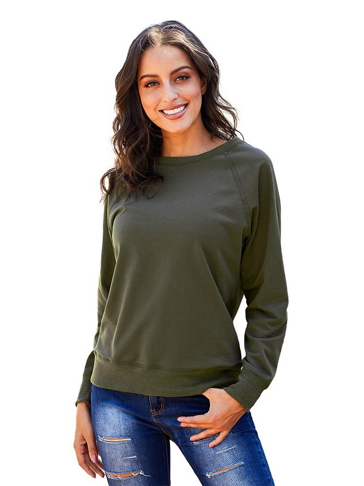 French Terry Cotton Solid Color Blend Pullover Sweatshirt
