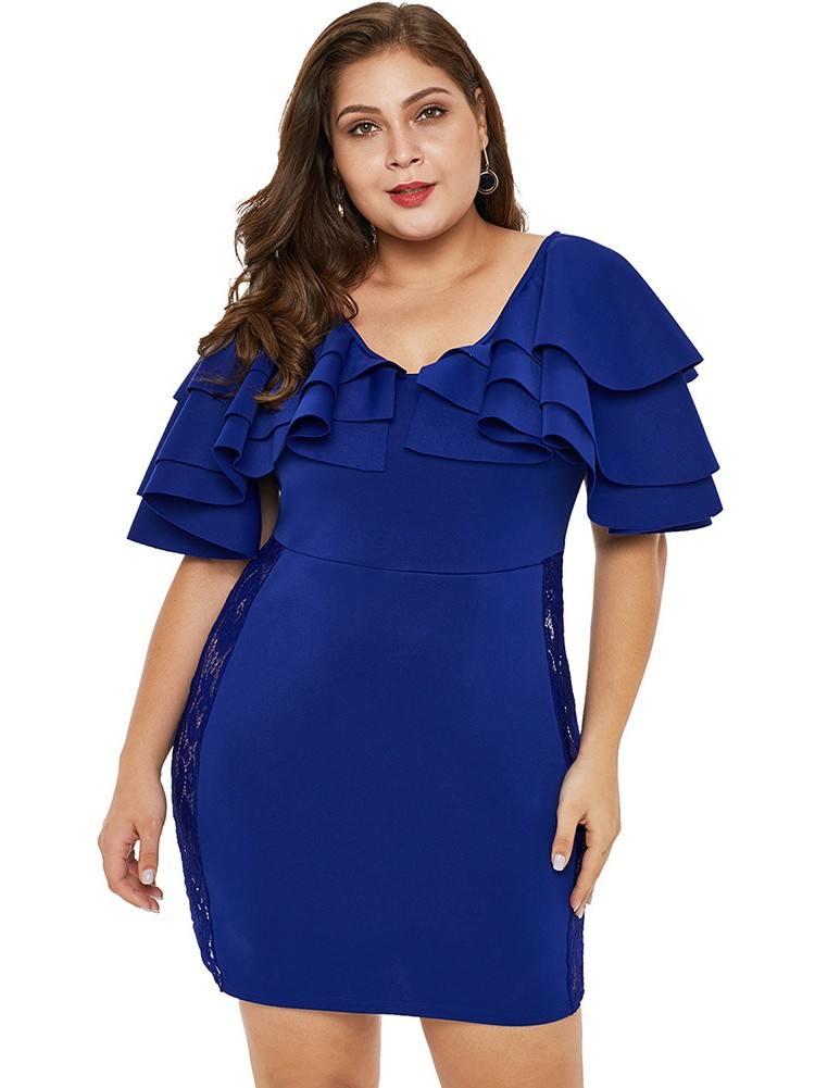 Black Round Neck Pleated Ruffled Shoulder High Waist Lace Plus Size Dress
