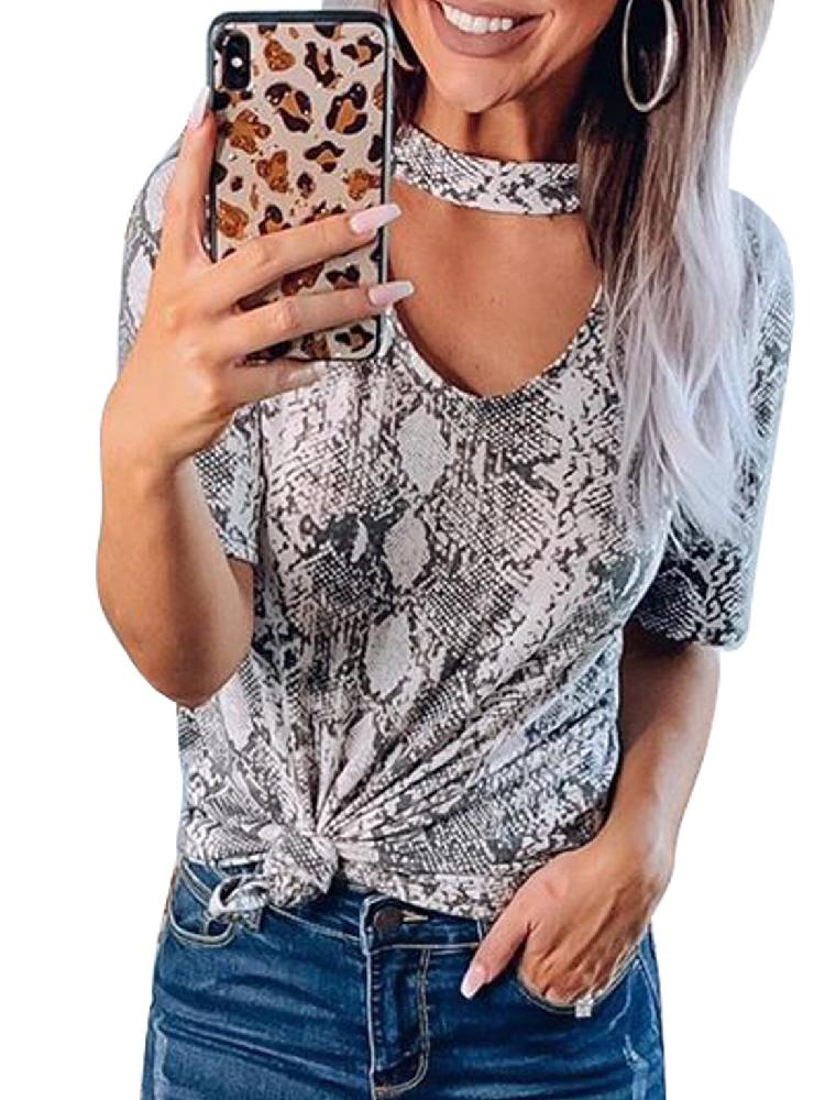 Loose-fitting Print Choker T-shirt