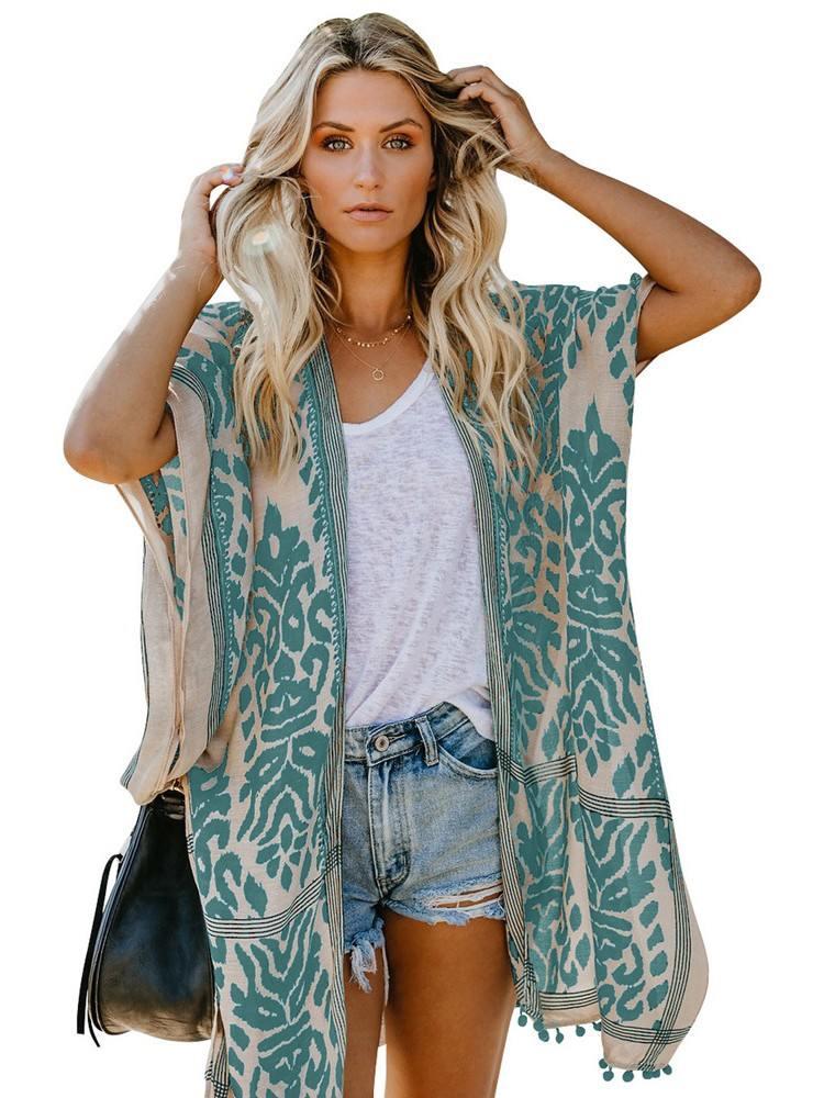 Green Women Beach Printed Prowess Mid-length Loose Kimono