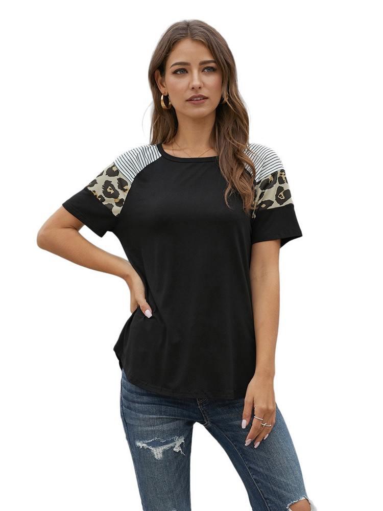 Striped Leopard Print Round Neck Short Sleeve Women T-shirt