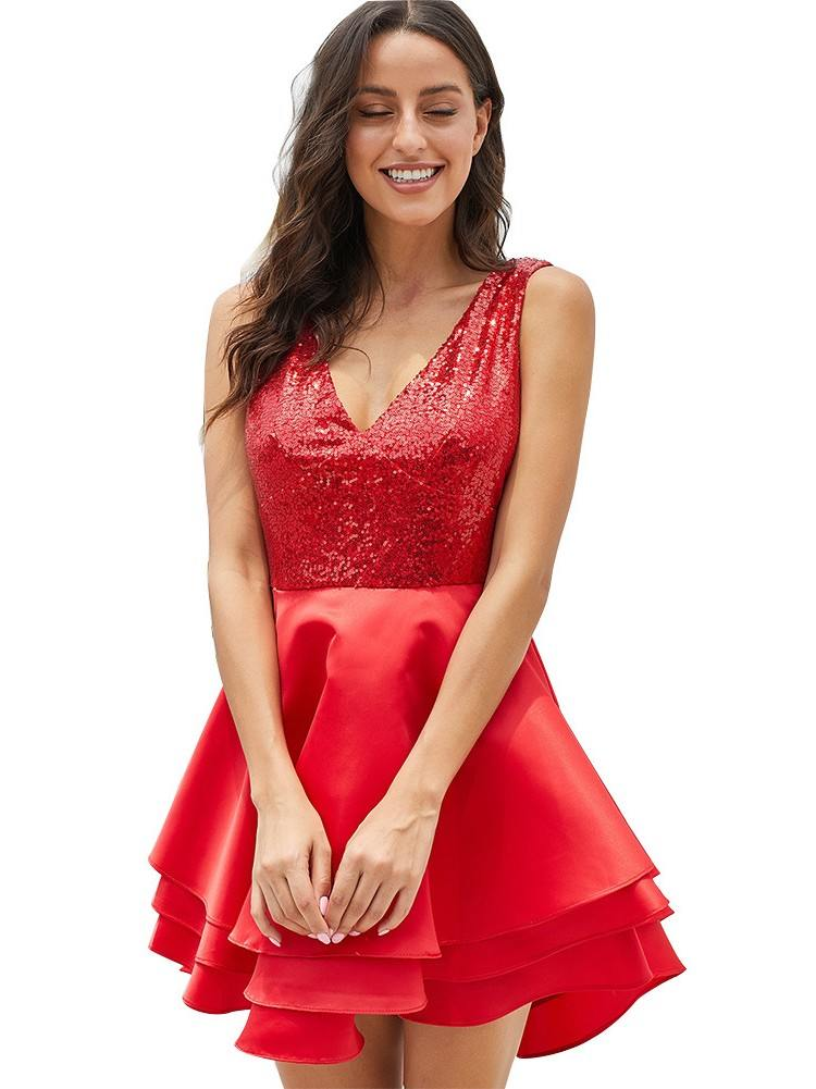 Sexy Heart Broken Sequin Sleeveless Multi Layer V-neck Dress