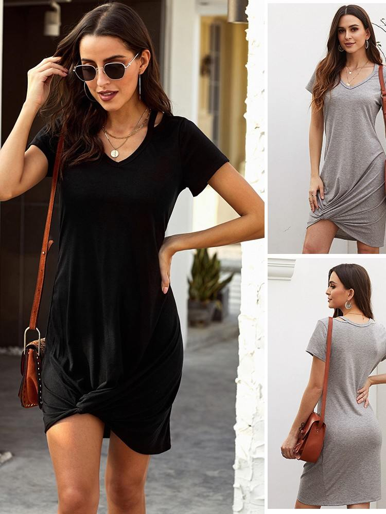 Gray Asymmetrical Hem Skies Jersey Twist T-Shirt Dress Women