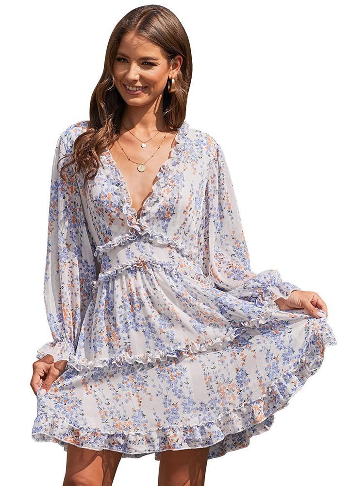 Women Floral Chiffon Ruffle Detailing Open Back Dress