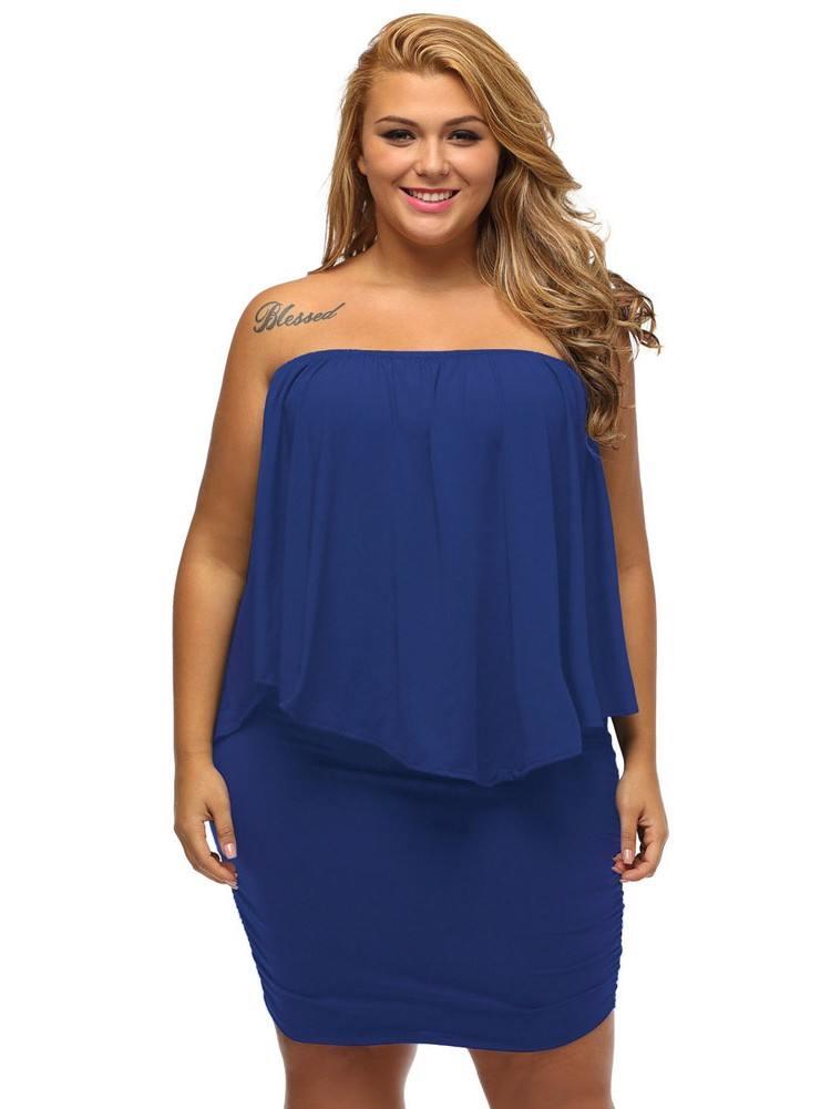 Blue Multiple Layered Plus Size Poncho Dress