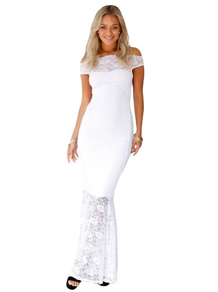 One-shoulder Bardot Lace Fishtail Sexy Maxi Dress