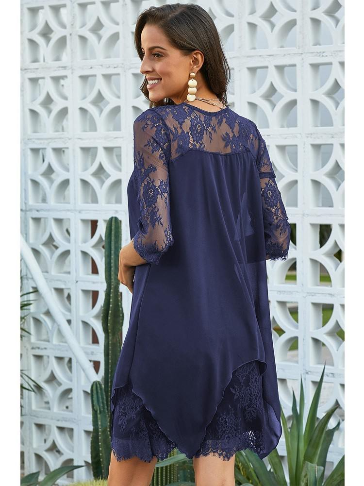 Chiffon Overlay Calf-Length Sleeve Rregular Hem Dress