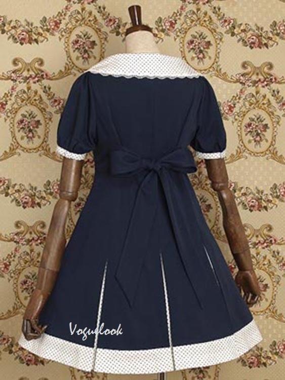 Doll Collar Waist Sweater OP School Lolita Dress