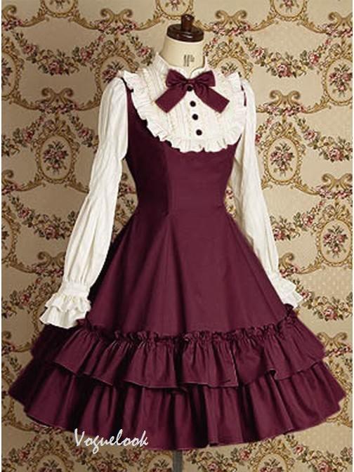 Wine Red Long Sleeves Ruffle Slim Cotton Classic Mary School Lolita Dress