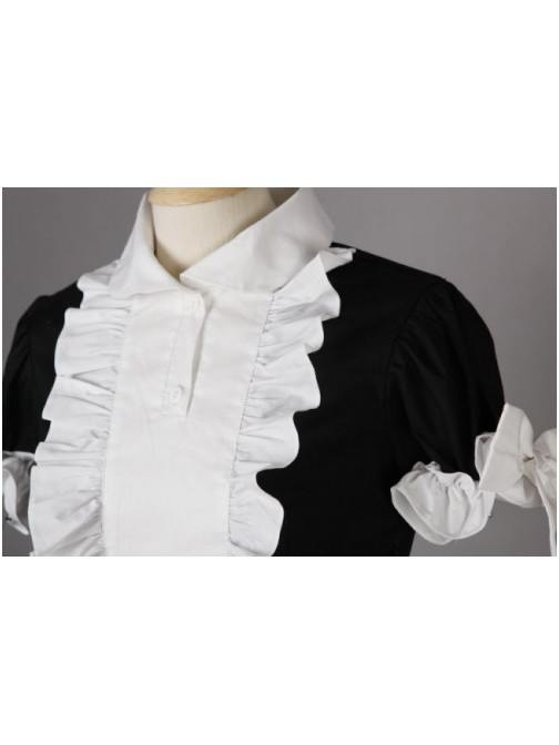 Black White Short Sleeves Classic Belt Apron Cotton Cosplay Lolita Maid Costume
