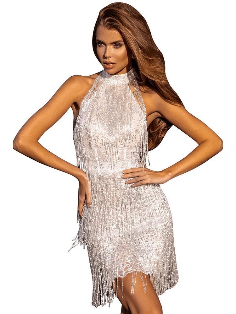 Fringed Halter Open Back Sequin Zipper Mini Dress