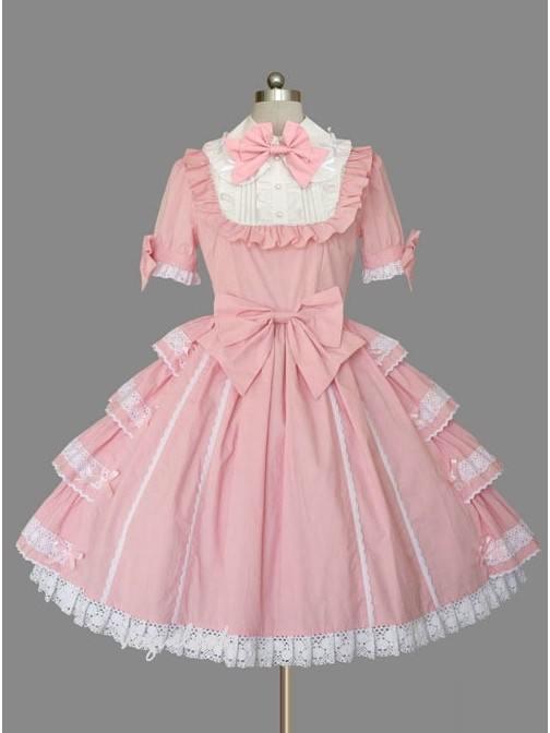Lolita pink doll collar bowknot lace trim short-sleeved dress princess dress