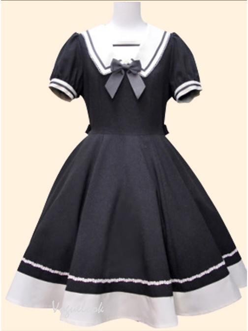 Black Navy style princess dress retro Japanese Short Sleeve School Lolita Dress