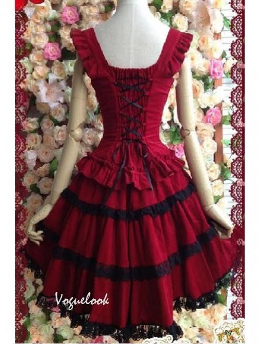 Dark Red Princess Dress Slim Fit Retro Lace Sling Puff Dress