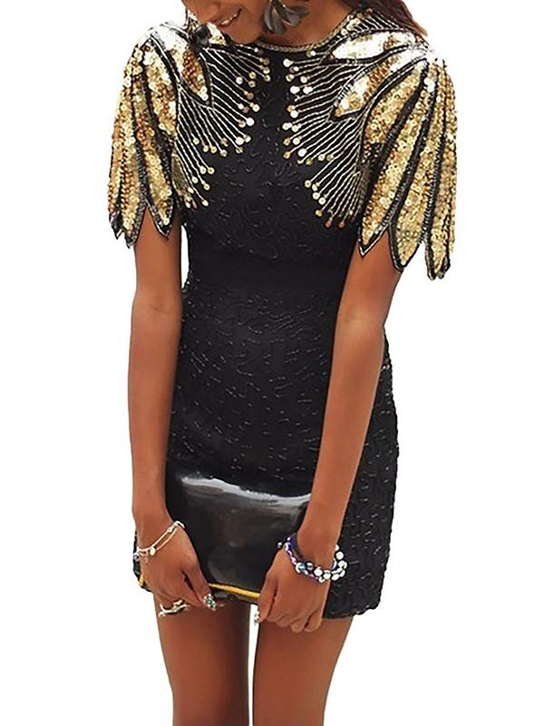 Short Style Sequin Shoulder Zipper Cocktail Prom Dress