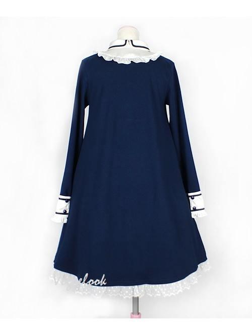 Tibetan Blue Doll Collar Retro Bow Lotus Leaf High-waisted School Lolita Dress