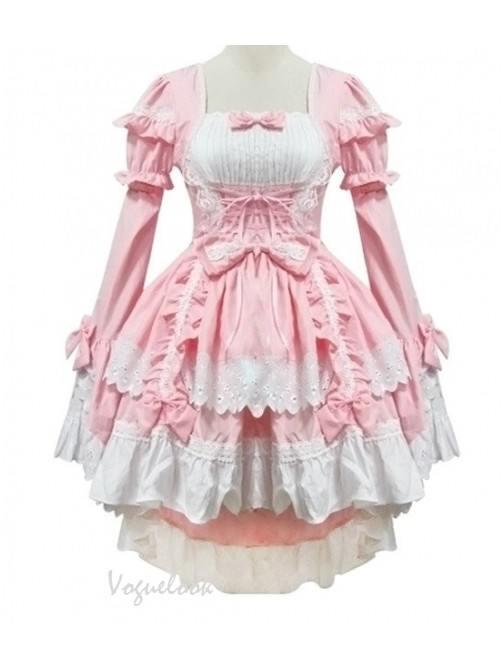 Lolita Gothic Draw Back One-piece Slim Fit Princess Dress Maid Costume