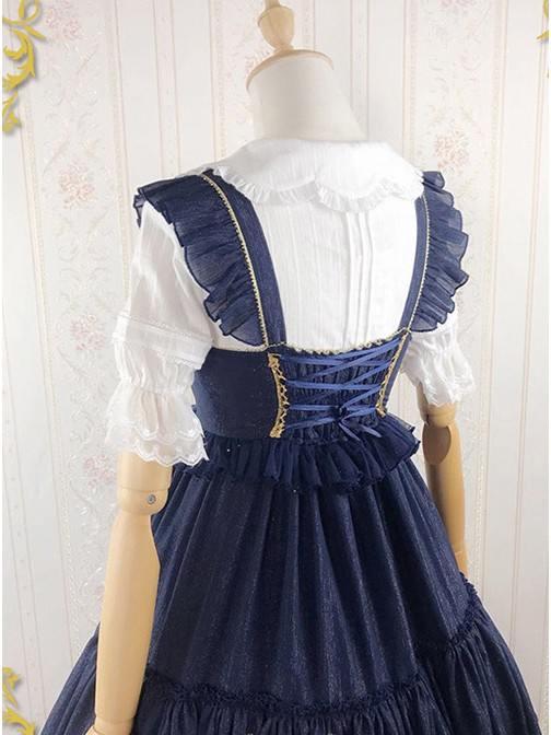 Iridescent Sugar\'s Dream Women Ruffles Lace lapel Collar Sweet Lolita Dress