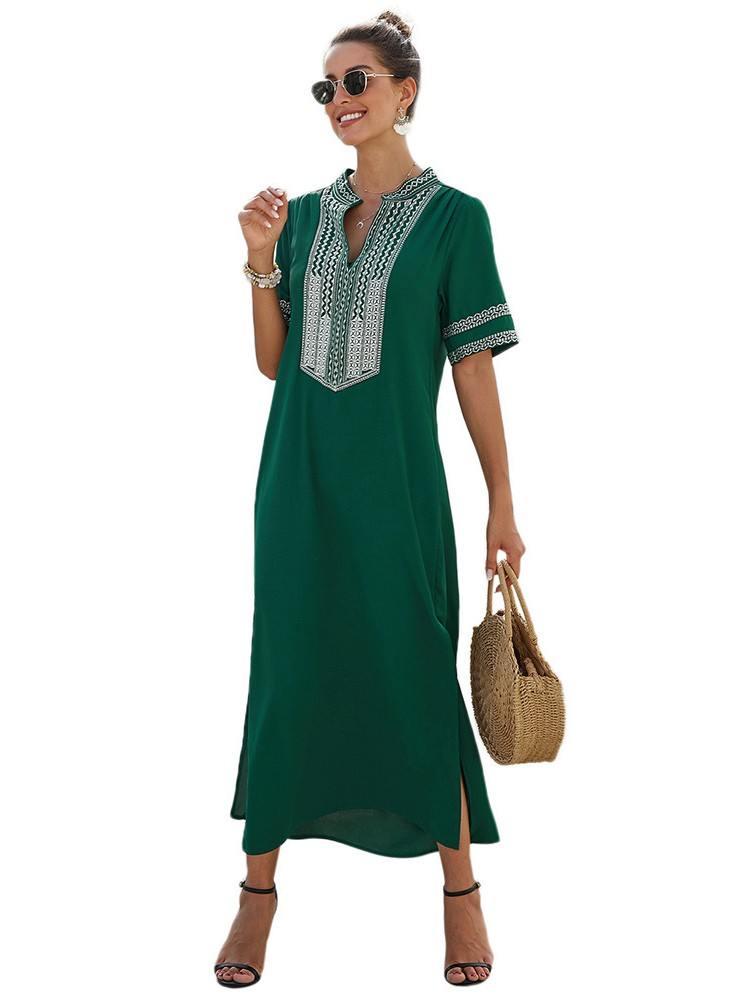Women Bohemian Floral Print Short-sleeved Side Split Maxi Dress